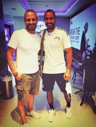 مصطفى النفياوي مع الكابتن محمد شوقي نجم منتخب مصر